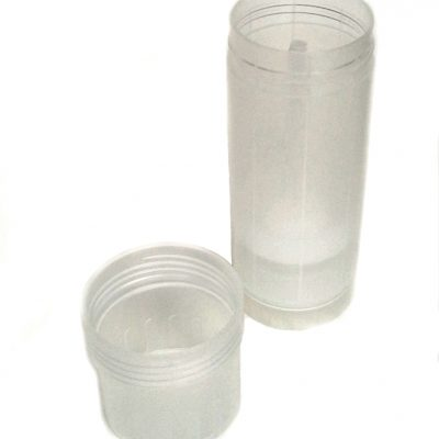 Transparent Empty Plastic Deodorant Container - Twist-Up, Top-Fill, Cylinder