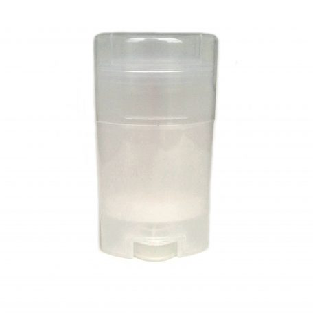 Transparent Empty Plastic Deodorant Container - Twist-Up, Top-Fill, Classic Style with lid ON