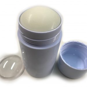 Empty Deodorant Container - Bottom-Fill White Cylinder 2.5 OZ - FINISHED top lid off (inner lid off)