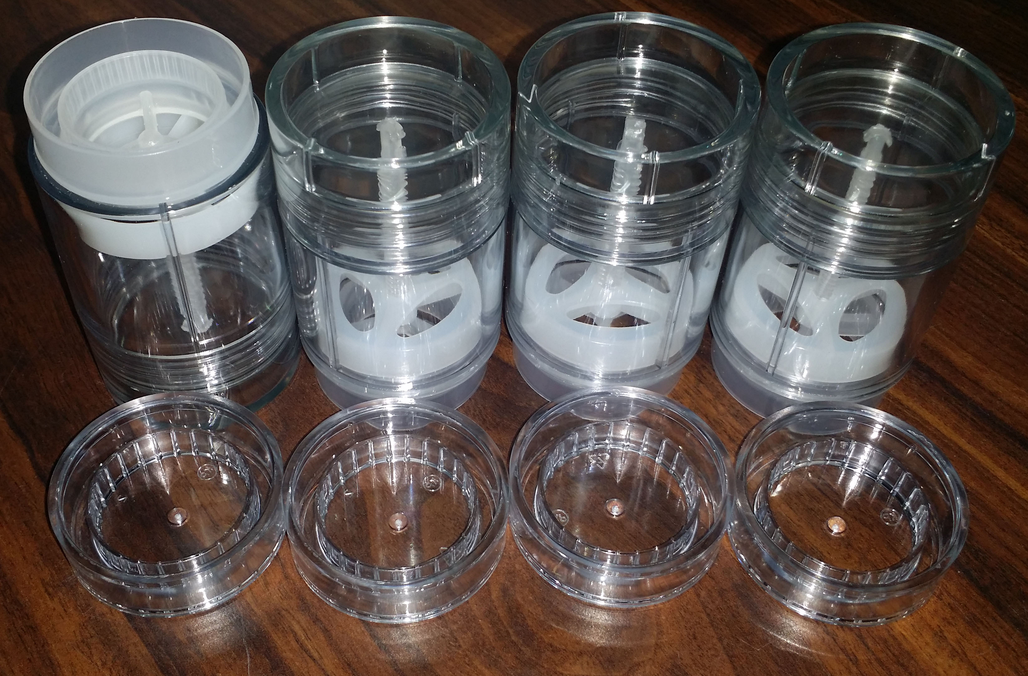 4-pack clear plastic empty deodorant containers bottom-fill