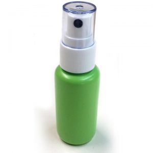 1.25 oz Green bottle with white fine mist sprayer