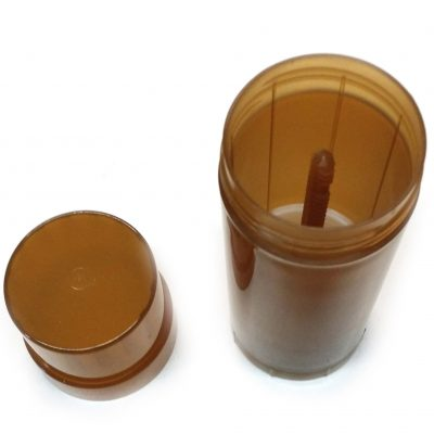 Brown Transparent Empty Plastic Deodorant Container - Twist-Up, Top-Fill, Cylinder with lid OFF