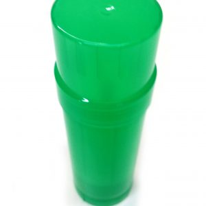 Green Transparent Empty Plastic Deodorant Container - Twist-Up, Top-Fill, Cylinder with lid ON - Top View