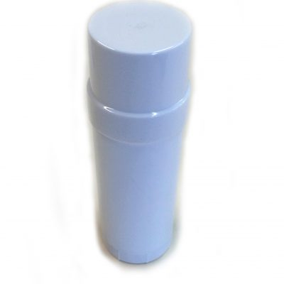 White Empty Plastic Deodorant Container - Twist-Up, Top-Fill, Cylinder with lid ON Angle View www.DeodorantContainer.com