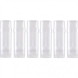 6-Pack Transparent Empty Plastic Deodorant Container - Twist-Up, Top-Fill, Cylinder