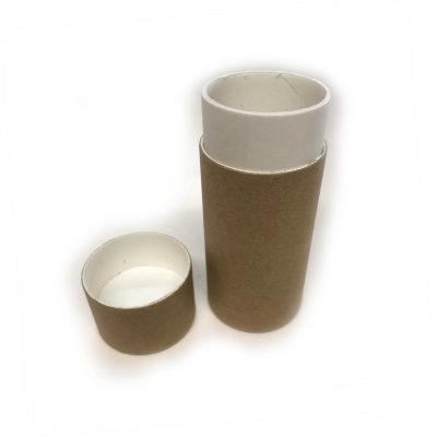 Empty Cardboard Deodorant Tube Container - Top-Fill Cylinder #1 with lid off