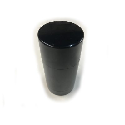 Bottom-Fill Cylinder Black, 2 OZ Plastic, Recyclable, Reusable