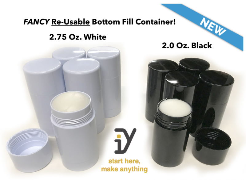 FANCY RE-USABLE, Recyclable, bottom-fill deodorant containers