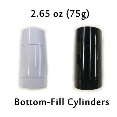 75g Bottom-Fill Cylinders Black and White 2.65 oz