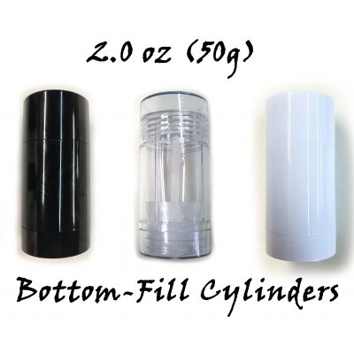 – FREE SHIPPING – Empty Deodorant Containers: Cylinder, Twist-up, Reusable, Recyclable, DIY Empty Deodorant Tubes, Bottom-fill 2.0 Oz (Black or Clear or White)