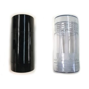 Black and Clear Bottom-Fill Empty Deodorant Container Cylinders 50G, BPA FREE Plastic 2 OZ, recyclable and reusable