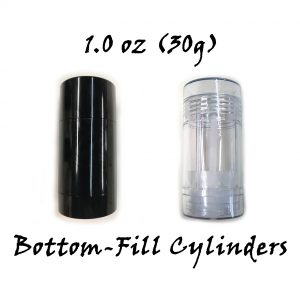 Black and Clear Bottom-Fill Cylinders 30G 1 oz