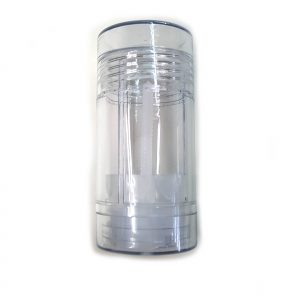 Empty Deodorant Container - Bottom-Fill Clear plastic, 2 OZ, recyclable and reusable