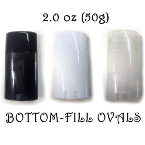 – FREE SHIPPING – Empty Deodorant Containers – Oval Style, PP Plastic, Recyclable, Twist-up, 2.0 oz, Bottom-Fill