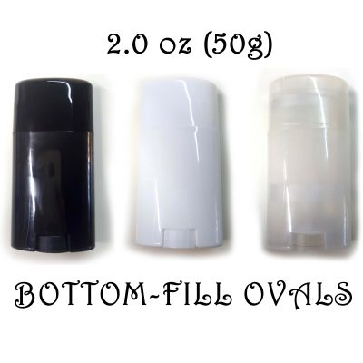 BULK QUANTITY – Empty Deodorant Containers – Oval Style, PP Plastic, Recyclable, Twist-up, 2.0 oz, Bottom-fill