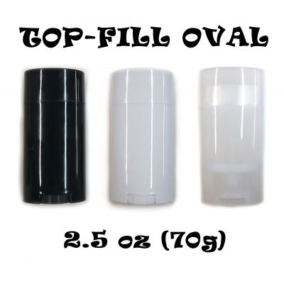 2.5 oz Top-Fill Empty Oval Deodorant Containers - All Three CONTAINERS (white or black or clear)