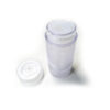 Bottom-fill matte clear 2.65 oz cylinder containers (75g) _ upside down