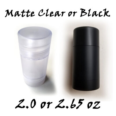 BULK QUANTITY – Empty Deodorant Containers Twist-up, Reusable, Recyclable, DIY Deodorant Tubes, MATTE BLACK or MATTE CLEAR Bottom-Fill (2.0 OZ or 2.65 OZ)