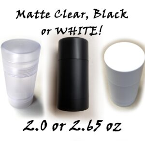 BULK QUANTITY – Empty Deodorant Containers Twist-up, Reusable, Recyclable, DIY Deodorant Tubes, MATTE BLACK, MATTE WHITE or MATTE CLEAR Bottom-Fill (1.0 OZ, 2.0 OZ or 2.65 OZ)