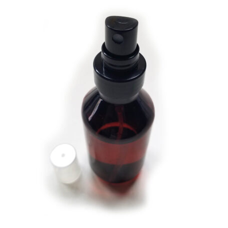 4 oz Amber Plastic PET Bottle with Black Fine Mist Sprayer_lid-off